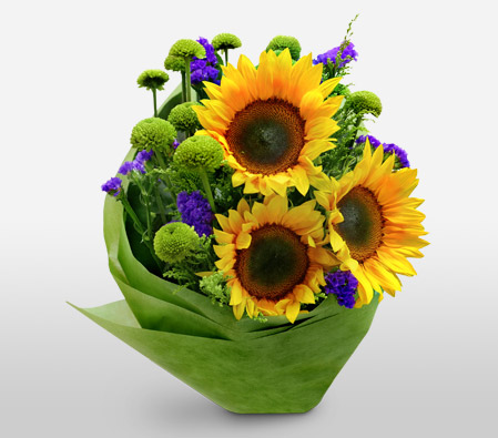 Summer Glory-Green,Purple,Yellow,SunFlower,Bouquet
