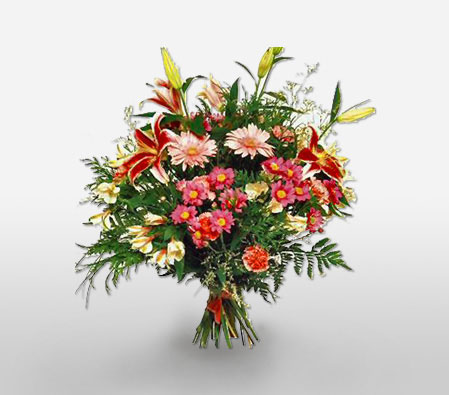 Tango Temptation <Br><Font Color=Red>Lilies, Carnations & Gerberas</Font>
