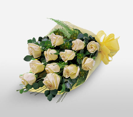 New Dawn - Dozen Roses-Yellow,Rose,Basket