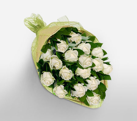 Crystalline - 18 White Roses-White,Rose,Bouquet