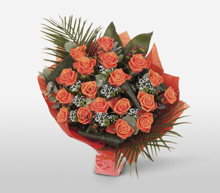 Timeless Peach Roses-Orange,Peach,Rose,Bouquet