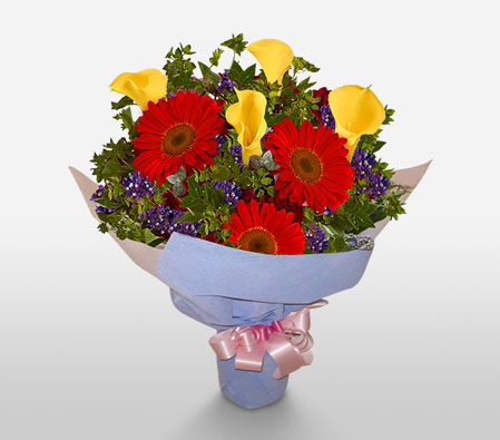 Symphony-Red,Yellow,Daisy,Gerbera,Lily,Bouquet