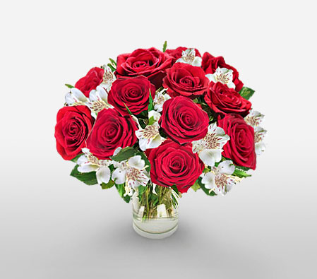 Royal Extravagance-Red,White,Lily,Rose,Arrangement