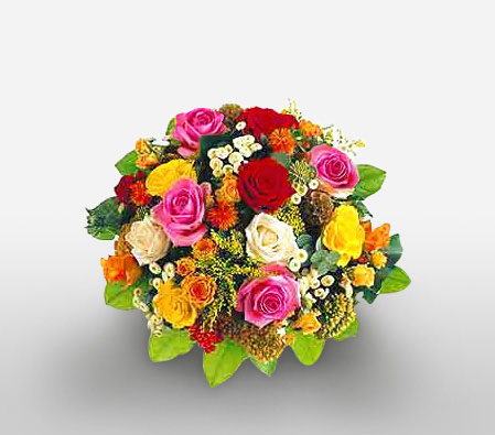 Majestic Renaissance-Mixed,Orange,Pink,Red,Yellow,Chrysanthemum,Rose,Bouquet