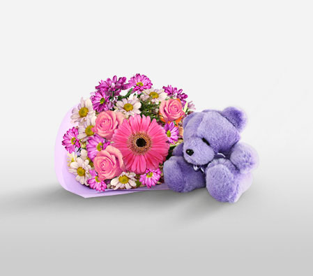 Gerberas N Roses With Teddy