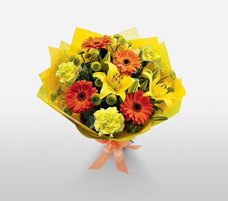 Eternal Beauty-Mixed,Orange,Yellow,Carnation,Daisy,Gerbera,Lily,Mixed Flower,Bouquet