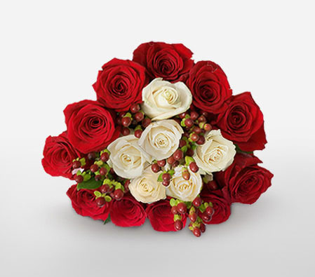 Dreamy Tryst-Red,White,Rose,Bouquet