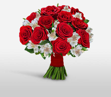 Amore Euphoria-Red,White,Alstroemeria,Rose,Bouquet