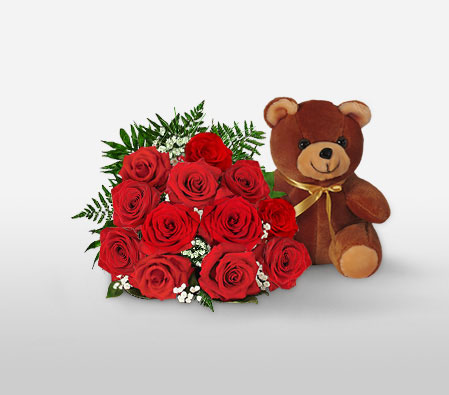 Cuddly Times <Font Color=Red>Sale $10 Off - One Dozen Roses & Teddy </Font>
