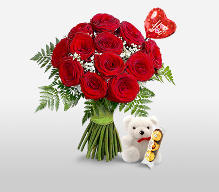 Love Is In The Air <Br><Font Color=Red>Red Roses And Balloon</Font>