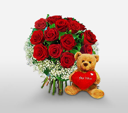 Loving Roses And Teddy<Font Color=Red> Free Teddy Bear </Font>