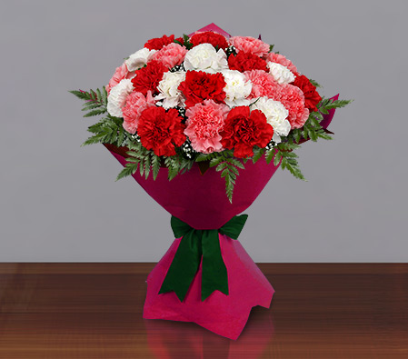 Carnation Carnival-Mixed,Pink,Red,White,Yellow,Carnation,Bouquet
