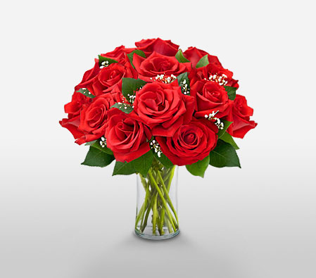 Dozen Roses In A Vase<Font Color=Red>Sale! $5 Off</Font>