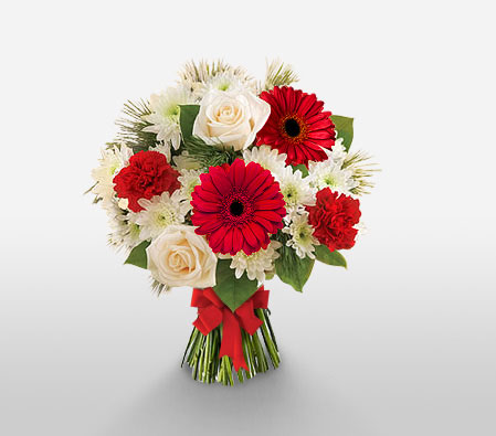 Sparkling Celebration-Red,White,Chrysanthemum,Daisy,Gerbera,Mixed Flower,Rose,Bouquet