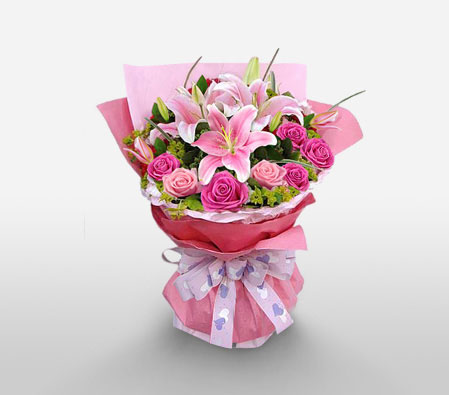 Rose N Lily Bouquet-Pink,Lily,Rose,Bouquet