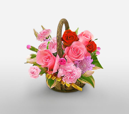 Mixed Flowers in Basket-Pink,Red,Rose,Carnation,Arrangement,Basket