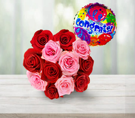 Bati Bouquet <br><font color=red>12 Roses & Free Balloon</font></br>