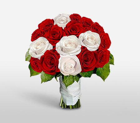 Aristocratic Hues-Red,White,Rose,Bouquet