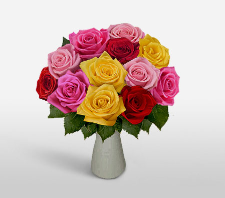 Dozen Rainbow Roses-Pink,Red,Yellow,Rose,Arrangement
