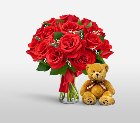 Lady In Red <br><font color=red>One Dozen Red Roses & Free Teddy bear</font>