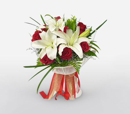Love N Romance - Roses + Lilies-Red,White,Lily,Rose,Bouquet