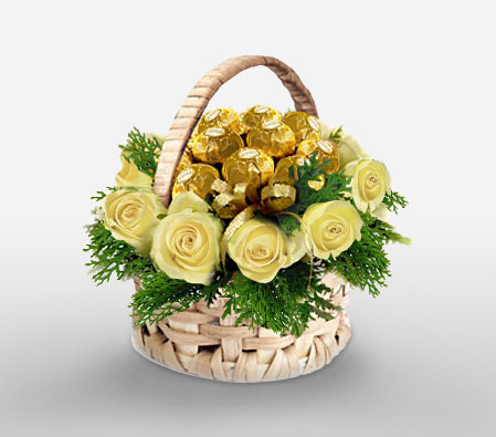 Roses Chocolicious Wishes Basket Of Cream Roses With 12 Ferrero Rocher International Flower Delivery To South Africa
