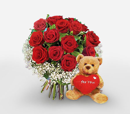 Magical Memories - Roses & Teddy-Red,Rose,Teddy,Bouquet
