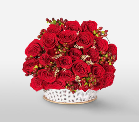 Medellin Magic - Red Roses Arrangement-Red,Rose,Arrangement,Basket