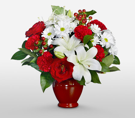 Scarlet White <br><font color=red>Sale $15 off with a complimentary Red Vase</font>