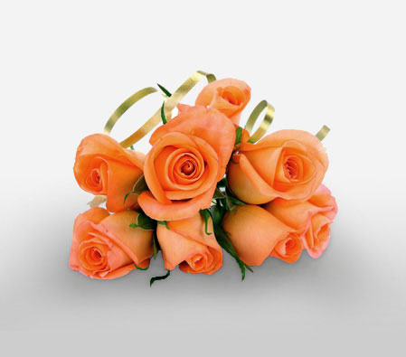 Sun-Kissed Beauty <Br><Font Color=Red>8 Orange Roses</Font>