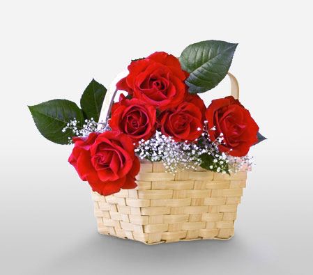 Regal Ecstasy <br><font color=red>6 Roses in a Basket</font>