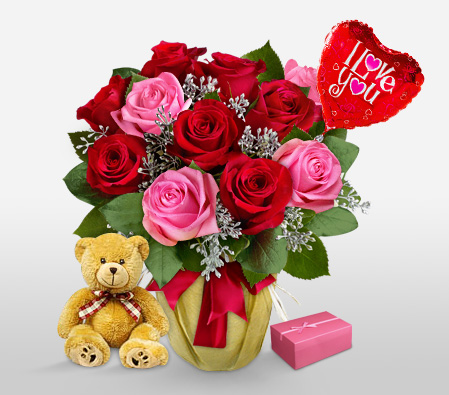 Sinful Surprise<br><font color=red>12 Roses & Free Teddy, Chocolates & Balloon</font></br>