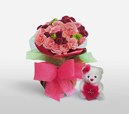 Colorful Cuddles-Pink,Red,Rose,Teddy,Bouquet