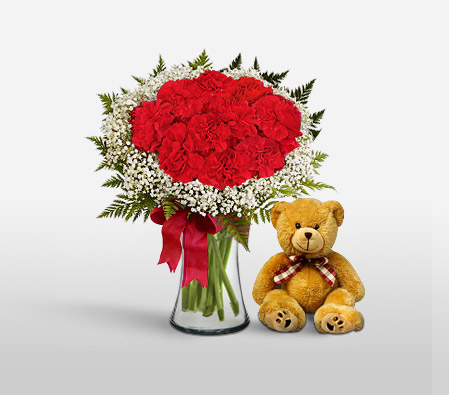 Bella Sweetheart - Red Carnations + Teddy