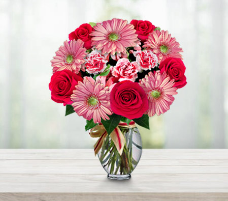 Mothers Day Arrangement-Pink,Red,Carnation,Daisy,Gerbera,Mixed Flower,Rose,Bouquet