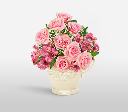 Mothers Day Flowers-Pink,Alstroemeria,Mixed Flower,Rose,Arrangement