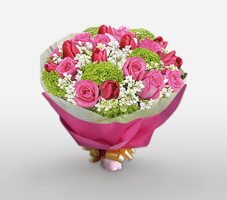 Strawberry Touch-Pink,Red,Carnation,Mixed Flower,Rose,Tulip,Bouquet