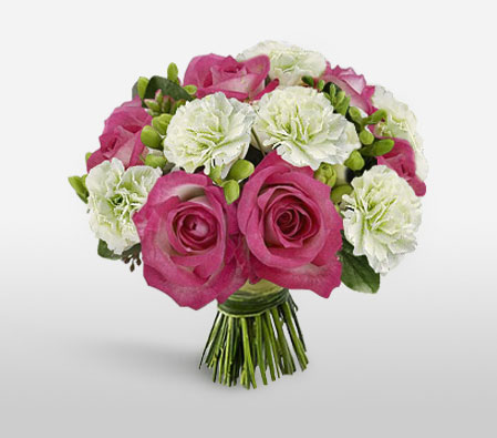 Pink Roses And White Carnations