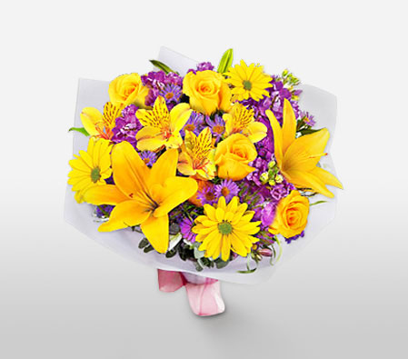 Of Purple And Yellows-Purple,Yellow,Alstroemeria,Daisy,Hydrangea,Lily,Mixed Flower,Rose,Bouquet
