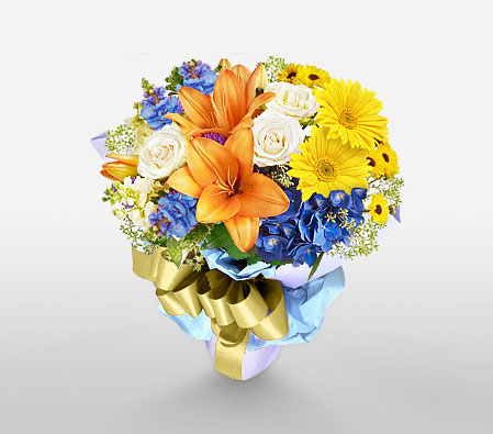 Colored Fantasy-Blue,Mixed,Orange,White,Yellow,Daisy,Gerbera,Iris,Lily,Mixed Flower,Rose,Bouquet