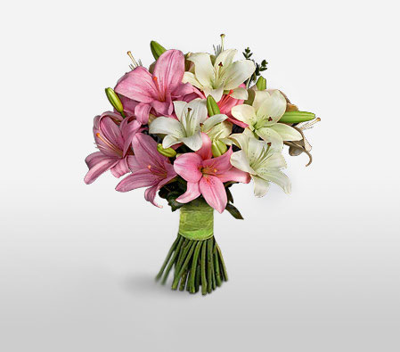 Wonderful Lilies-Pink,White,Lily,Bouquet
