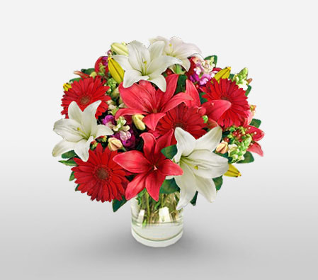 Mothers Day Flowers-Red,White,Daisy,Gerbera,Lily,Bouquet