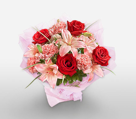 MUMbelievable-Mixed,Pink,Red,Carnation,Lily,Mixed Flower,Rose,Bouquet