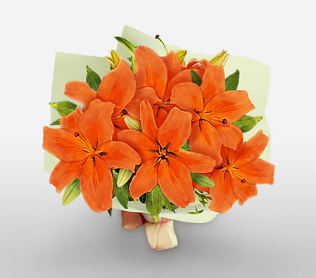 Cognac-Orange,Lily,Bouquet