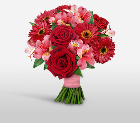 Cub Rubin-Pink,Red,Daisy,Gerbera,Lily,Rose,Bouquet