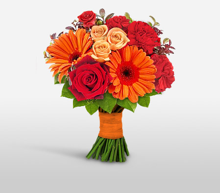 Florid Glimmer - Mixed Flowers Bouquet-Mixed,Orange,Red,Carnation,Gerbera,Mixed Flower,Rose,Bouquet