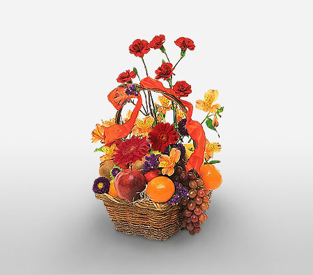 Basket Of Fruits And Flowers-Mixed,Alstroemeria,Carnation,Fruit,Gerbera,Mixed Flower,Arrangement,Hamper