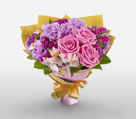 Carnegie - Mixed Flowers Bouquet-Pink,Purple,Alstroemeria,Carnation,Mixed Flower,Orchid,Rose,Bouquet
