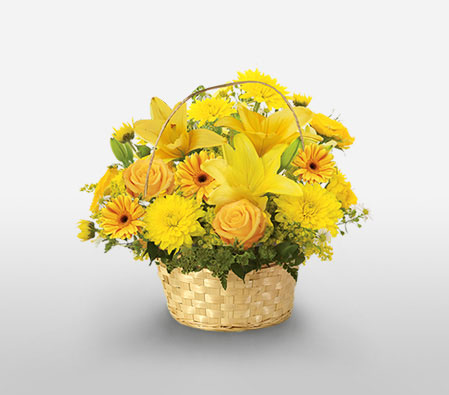 Amalfi Coast-Yellow,Carnation,Chrysanthemum,Lily,Mixed Flower,Arrangement