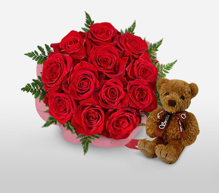 Loving Cuddles-Red,Rose,Teddy,Bouquet